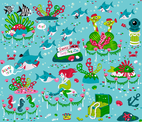 Sharks on a school trip (please zoom in for detail ^^ ) fabric by irrimiri on Spoonflower - custom fabric