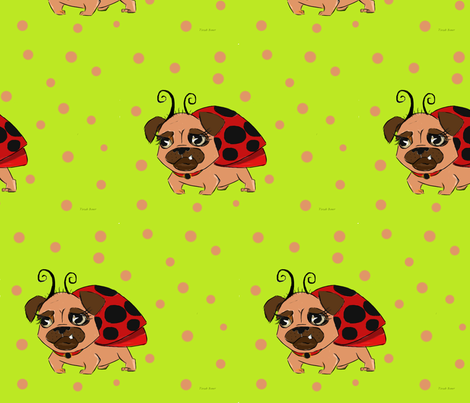 Lady Pug fabric by tirzah_bauer on Spoonflower - custom fabric