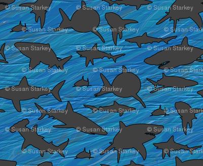 Shark Frenzy - 02 -  Dark Gray Sharks on Blue, Large Scale . . . Shark Week