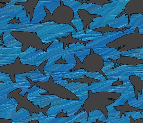 Shark Frenzy - 02 -  Dark Gray Sharks on Blue, Large Scale . . . Shark Week fabric by creative8888 on Spoonflower - custom fabric