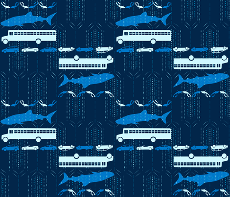Whale Shark: As Big as a School Bus - © Lucinda Wei fabric by lucindawei on Spoonflower - custom fabric
