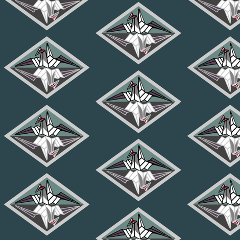 Red-crowned cranes on dark teal by Su_G fabric by su_g on Spoonflower - custom fabric