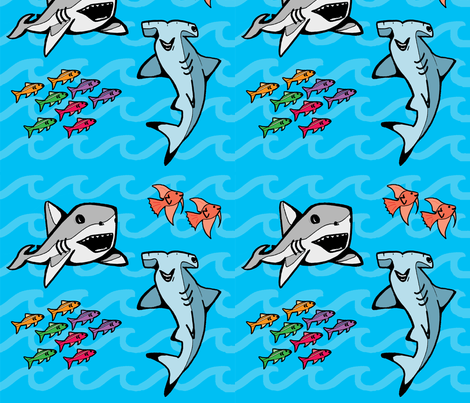 Happy Sharks! fabric by whitneyotic on Spoonflower - custom fabric