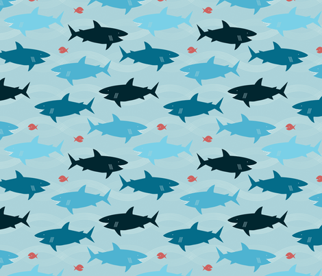 Happy Sharks fabric by jenimp on Spoonflower - custom fabric