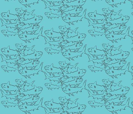SHARKS-blue fabric by garwooddesigns on Spoonflower - custom fabric