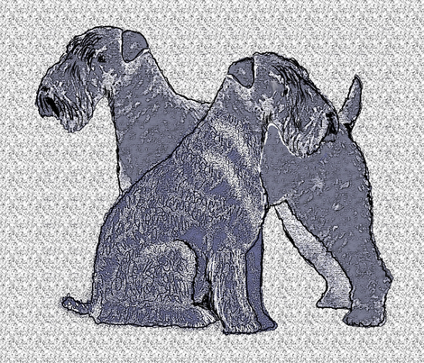 Kerry Blue Terrier Fabric Three fabric by dogdaze_ on Spoonflower - custom fabric