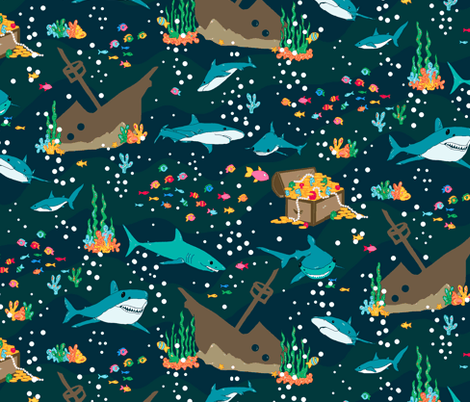 sharks fabric by beebumble on Spoonflower - custom fabric