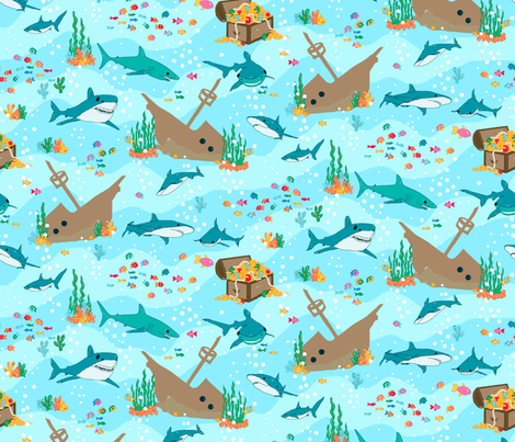 sharks_aqua fabric by beebumble on Spoonflower - custom fabric