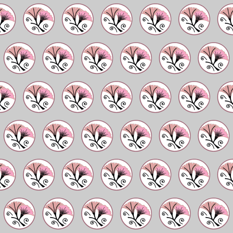 Pink and black morning glories on white and gray by Su_G fabric by su_g on Spoonflower - custom fabric