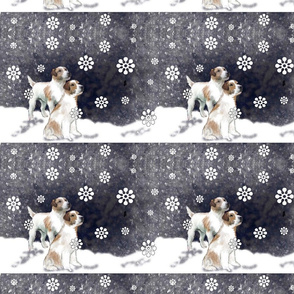 Jack Russell Fabric: A Snowy Day
