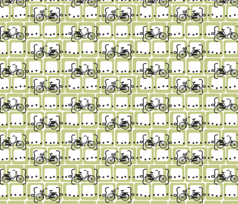Ride a bike V2 in olive fabric by me-udesign on Spoonflower - custom fabric