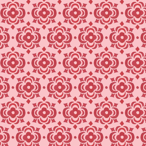 pink and rose tile fabric by katrinazerilli on Spoonflower - custom fabric