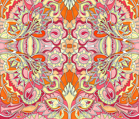 Psychedelic Granny (peach) fabric by edsel2084 on Spoonflower - custom fabric