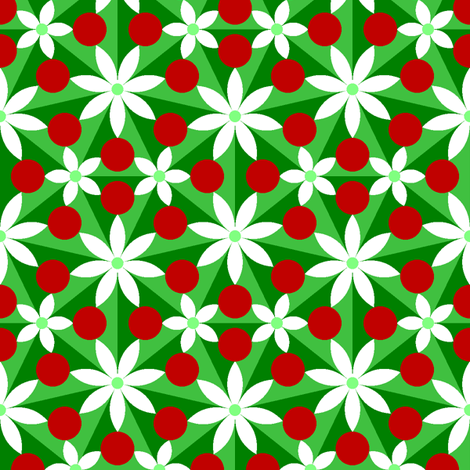 holly leaf, flower and berry 7x split fabric by sef on Spoonflower - custom fabric