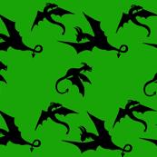 Dragons in Flight on Green