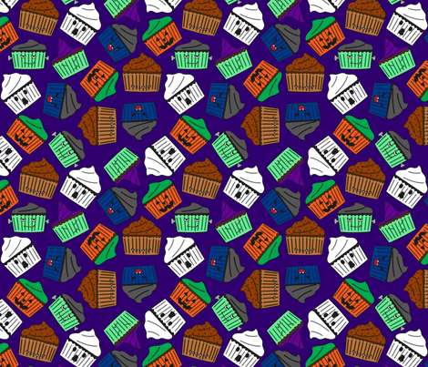 Halloween Cupcakes : Purple fabric by modgeek on Spoonflower - custom fabric