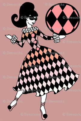 Retro Circus Girl - Mauve and black
