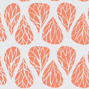peach and grey tear drop branches