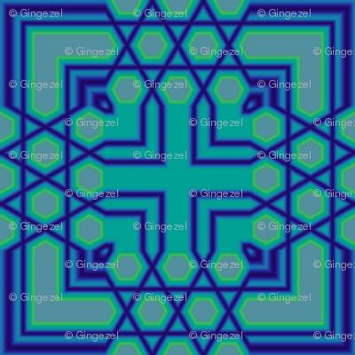Blue Green Geometric Cross Tile © Gingezel™ 2011