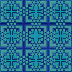 Blue Green Geometric Cross Tile © Gingezel™ 2011
