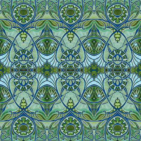 Victorian Gothic Aqua Olive Negative Fabric By Edsel2084 On Spoonflower