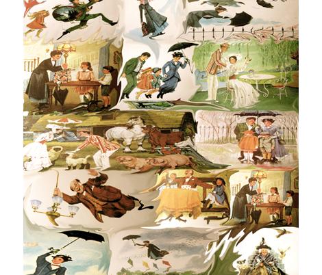 Vintage Mary Poppins Fabric Yoginibee Spoonflower