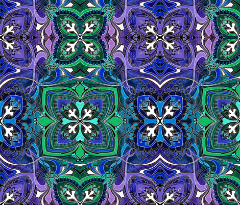 Four Square (midnight spring colors) large scale fabric by edsel2084 on Spoonflower - custom fabric