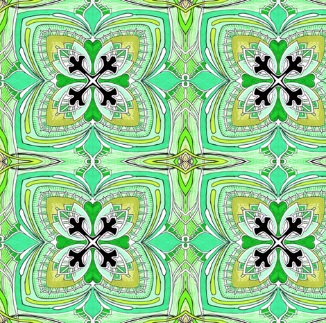 Square Three (green) medium scale fabric by edsel2084 on Spoonflower - custom fabric