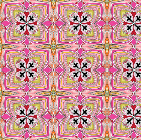 Square Three (pink) small scale repeat fabric by edsel2084 on Spoonflower - custom fabric