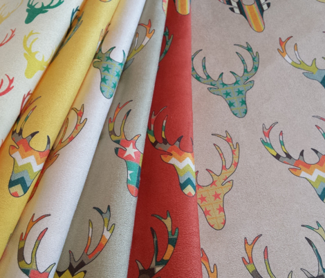 retro deer head linen