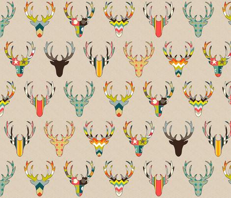 retro deer head linen fabric by scrummy on Spoonflower - custom fabric