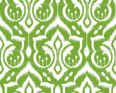Ikat Damask - Mistletoe Green