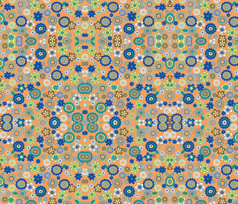 blue flowers on light orange  fabric by barakatblessings on Spoonflower - custom fabric