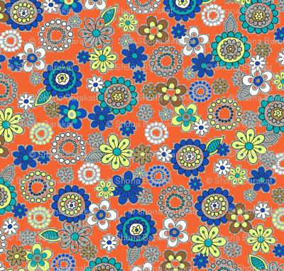 1970's flowers on bright orange