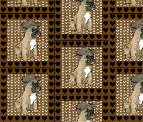 French Bulldog Fabric With Hearts fabric by dogdaze_ on Spoonflower - custom fabric