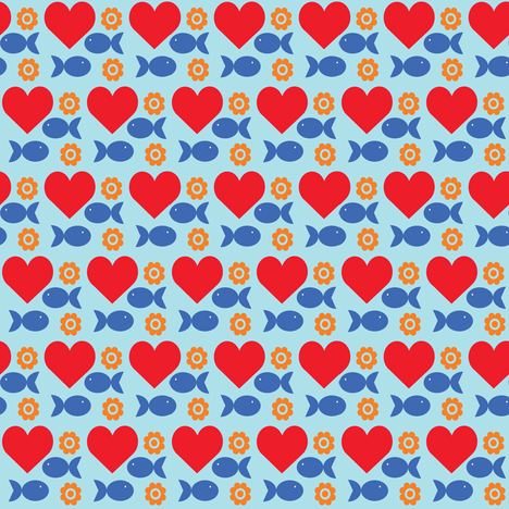 heartfishflower fabric by lilliblomma on Spoonflower - custom fabric