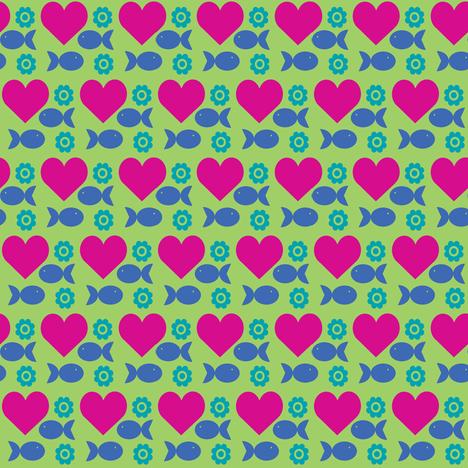 heartfishflower-green fabric by lilliblomma on Spoonflower - custom fabric