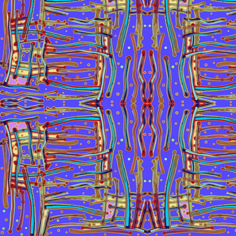 Messy stripes on electric blue fabric by su_g on Spoonflower - custom fabric