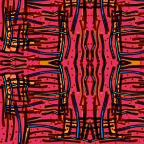 Messy stripes on dark rose by Su_G