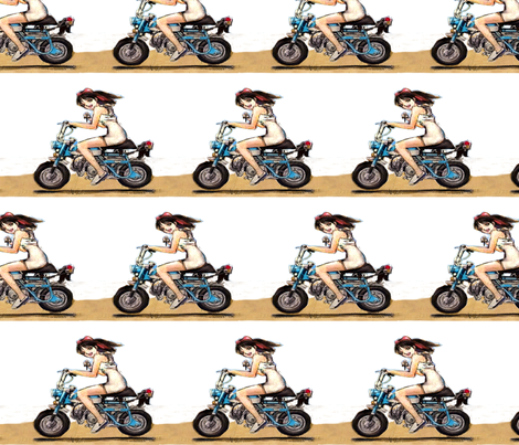 PV Suzuki Honda Monkey moped girl with cross in her hand fabric by vinkeli on Spoonflower - custom fabric