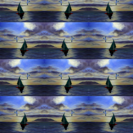 seagull_and_sail_in_the_seascape_painting_collage fabric by vinkeli on Spoonflower - custom fabric
