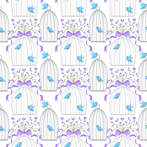Bedecked bird cages fabric by vo_aka_virginiao on Spoonflower - custom fabric