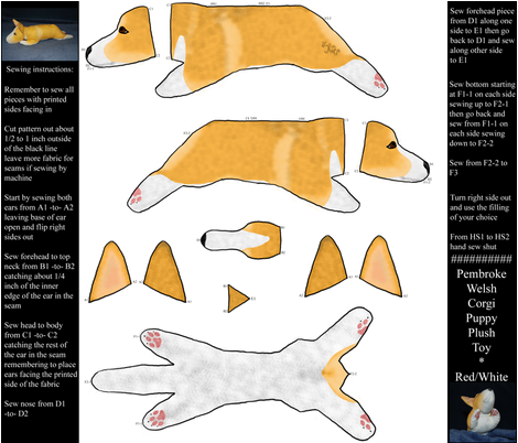 Cut and sew plush Pembroke Welsh Corgi puppy ©2011 fabric by rusticcorgi on Spoonflower - custom fabric