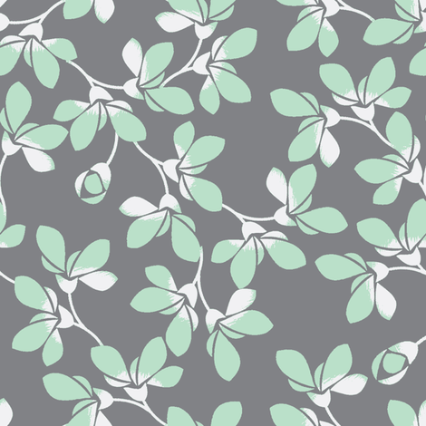 Minty Blooms fabric by joanmclemore on Spoonflower - custom fabric