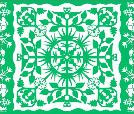 Hawaiian style cheater quilt 00bb66 border B fabric by victorialasher on Spoonflower - custom fabric