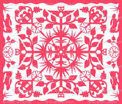 Hawaiian style cheater quilt ff4466 border A