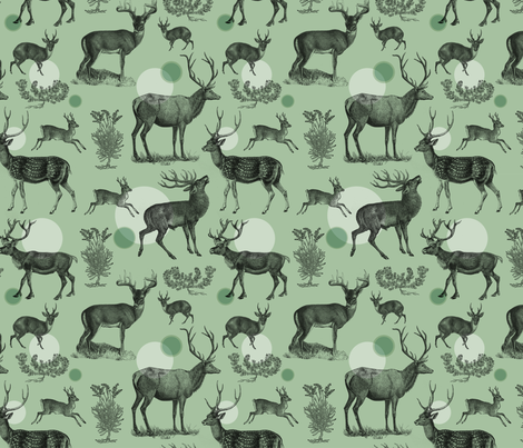 Antlers Pattern (Green) fabric by shelley_kommers on Spoonflower - custom fabric