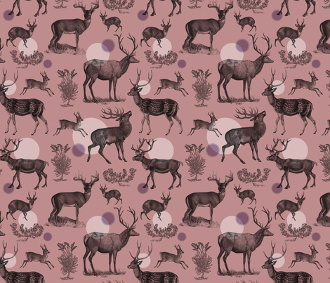 Antlers Pattern (Red) fabric by shelley_kommers on Spoonflower - custom fabric