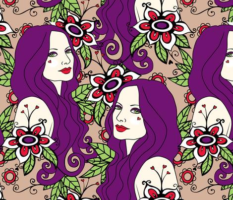 Julia and Flowers fabric by tessiegirldesigns on Spoonflower - custom fabric