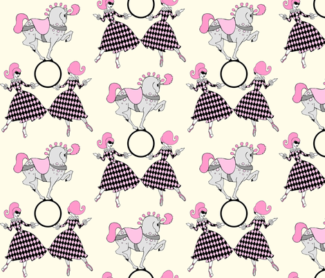 Retro circus-Vanilla and Pink fabric by beesocks on Spoonflower - custom fabric